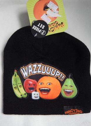 Вязаный комплект шапка + перчатки annoying orange