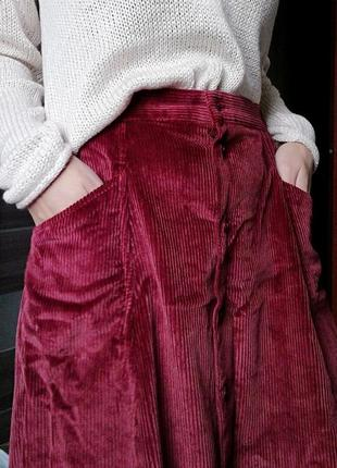 Шикарная вельветовая юбка трапеция миди на пуговицах country collection