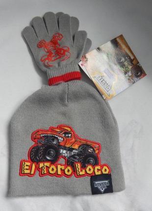 Вязаный комплект шапка + перчатки  monster jam