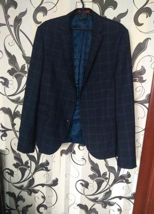 Мега крутой lambretta мужской пиджак-блейзер в клетку синий. р 48 l