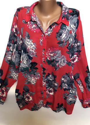 Шикарная малиновая рубашка в цветах большого размера