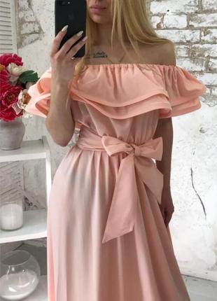 Волшебное платье в пол волны воланы стойкие рюши на регелине