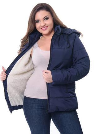 Зимняя куртка на овчине женская