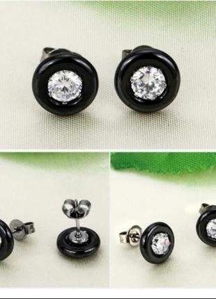 Серьги черные гвоздики керамика сережки серёжки