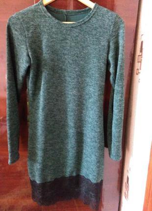 Платье весна-осень р-р м. темно-зеленый цвет.состояние идеальное. 250грн.