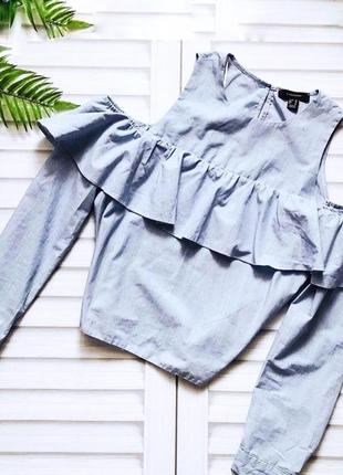 Нарядная голубая блуза в полоску с воланами и рюшами,рубашка,блузка открытые плечи