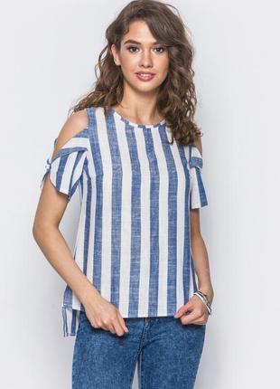 Блуза с полу открытыми плечами в полоску ( s 44 )