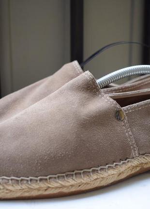 Замшевые эспадрильи туфли лоферы слипоны мокасины испанские