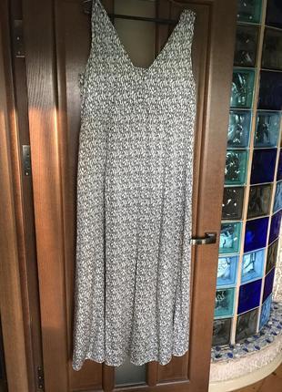 Летнее платье из натурального шелка в пол, размер xl.