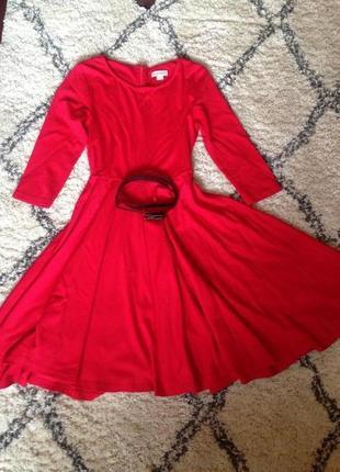 Эффектное алое трикотажное платье  monsoon