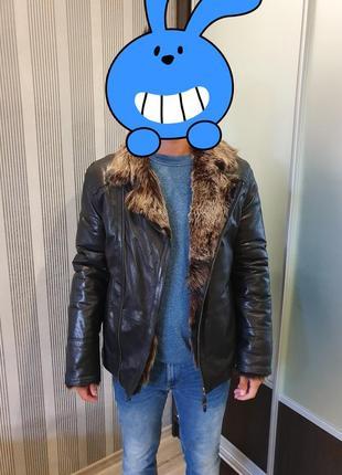 Мужская зимняя кожаная куртка с натуральным мехом