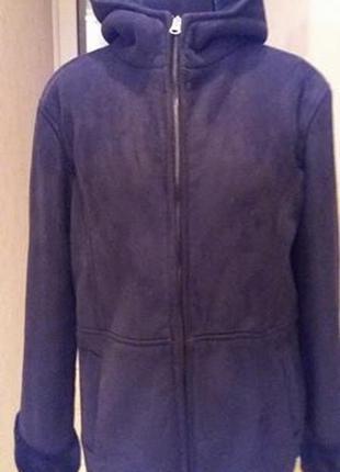 Дубленка куртка черная  капюшон раз. м-l (38-40)