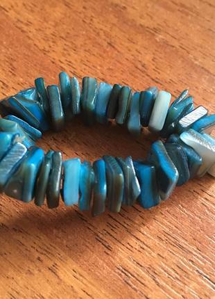 Синий браслет кораллы камни