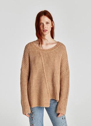 Вязаная шерстяная кофта,  свитер оверсайз
