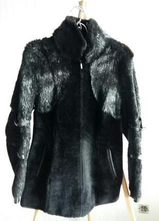 Меховая куртка на молнии мутон+нутрия на размер м