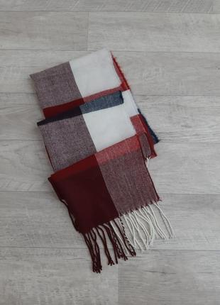 Шерстяной теплый шарф в клетку marks&spencer