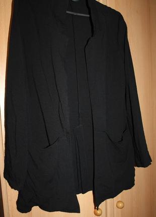 Кардиган пиджак удлиненный жакет чёрный xs