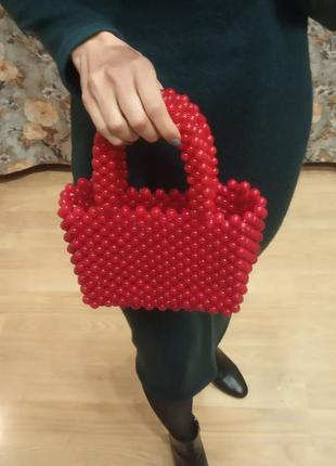 Трендовая сумка клатч из бусин ручной работы zara mango