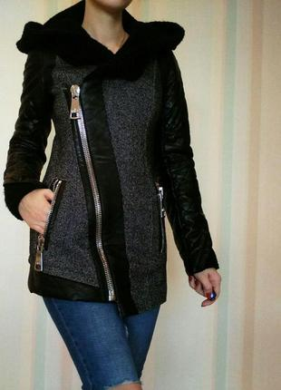 Пальто теплое осеннее демисезонное черное стильное модное vam
