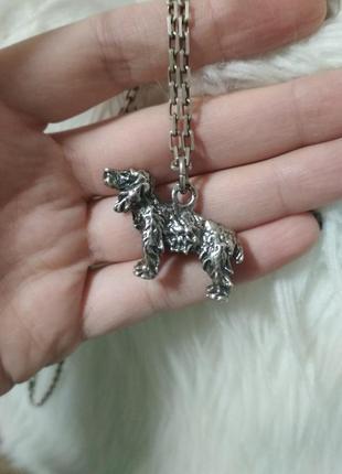 Шикарный серебряный кулон в виде собаки