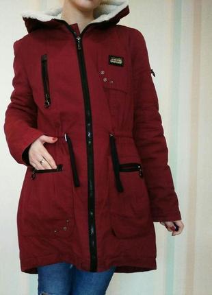 Парка теплая зимняя бордовая стильная модная galislava