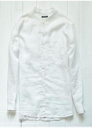 Белая льняная рубашка marc o'polo