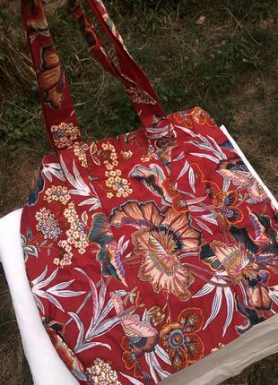 Сумка/шопер/еко пакет в цветочный принт zara/mango