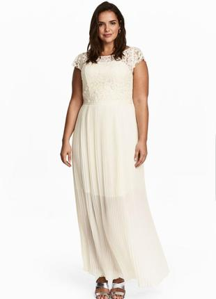 Шикарное свадебное, подвенечное, вечернее плиссированное платье h&m.
