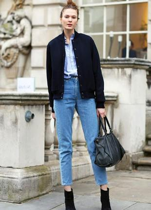 Голубые джинсы с высокой посадкой мом ,джинсы олд скул