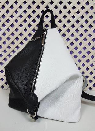 Рюкзак трансформер женский натуральная кожа, черный и белый