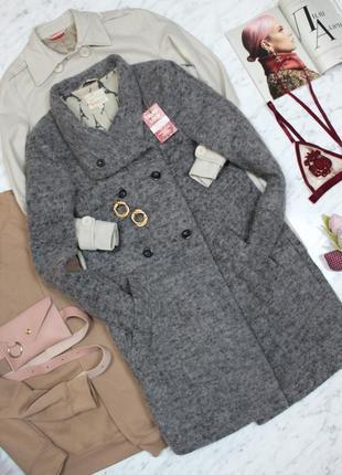 Пальто двубортное демисезонное шерсть шерстяное серое