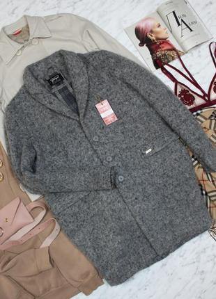 Пальто демисезонное шерсть шерстяное серое оверсайз