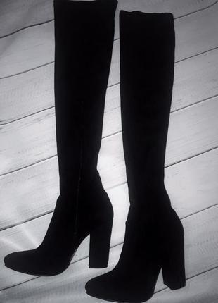 Трендовые замшевые ботфорты-чулки на прямом каблуке