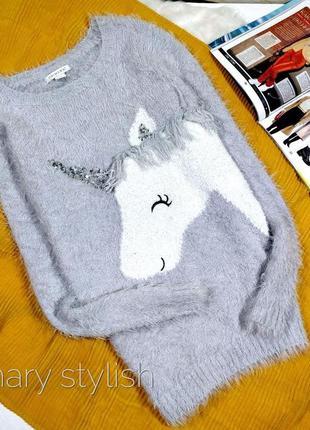 Мягусенький свитер травка с единорогом primark