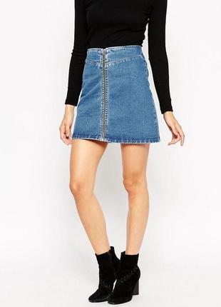 Крутая джинсовая юбка с замком