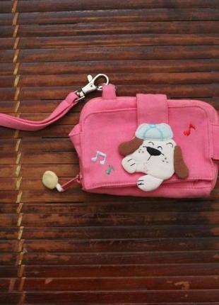 """Тканевый кошелек-брелок """" собачка-музыкант"""" ( розовый цвет )"""