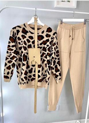 Вязаный костюм леопардовый принт