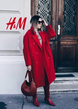 Премиальное трендовое оверсайз пальто100% шерсть от h&m