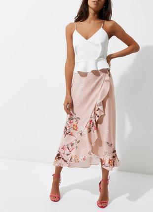Шикарная юбка с воланами миди на запах в цветочный принт нарядная