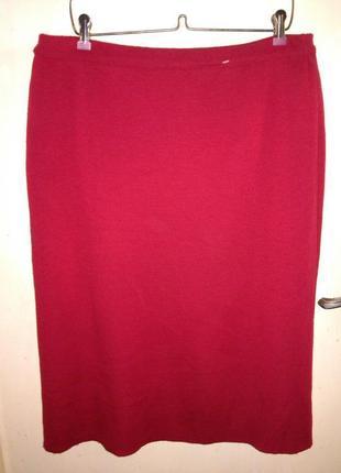 Тёплая-60% шерсть,красная,юбка-карандаш с разрезом,на резинке,18-24р,devernois paris