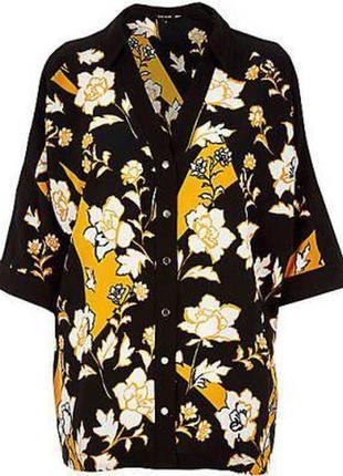 Рубашка блуза с открытыми плечами в цветочный принт zara