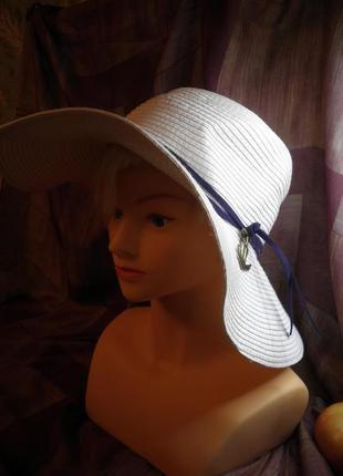 Элегантная мягкая шляпа с широкими полями жатая бумага с якорем