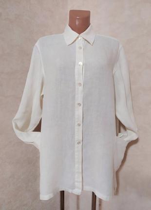 Дизайнерская белая льняная рубашка hobbs, marilyn anselm, l-xl