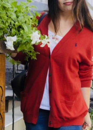 Красный кардиган ralph lauren