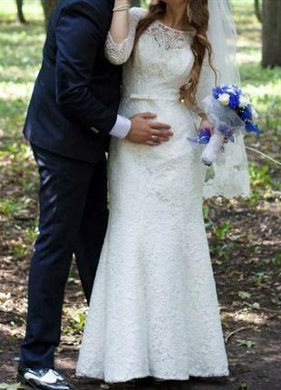 Кружевное свадебное платье, рыбка,с рукавами