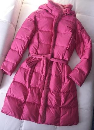 Красивое зимнее пуховое пальто savage розово-лилового оттенка