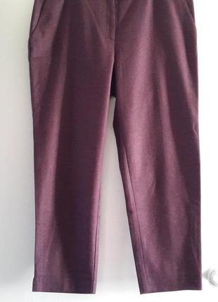 Шерстяные брюки цвета вишни marks$spencer, 18/46 long