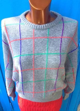 Серый в клетку свитер оверсайз от benetton