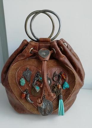 Шкіряна оригінальна сумочка ручної роботи hand made!!!