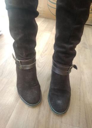 Сапоги темно-коричневые 38 р по колено